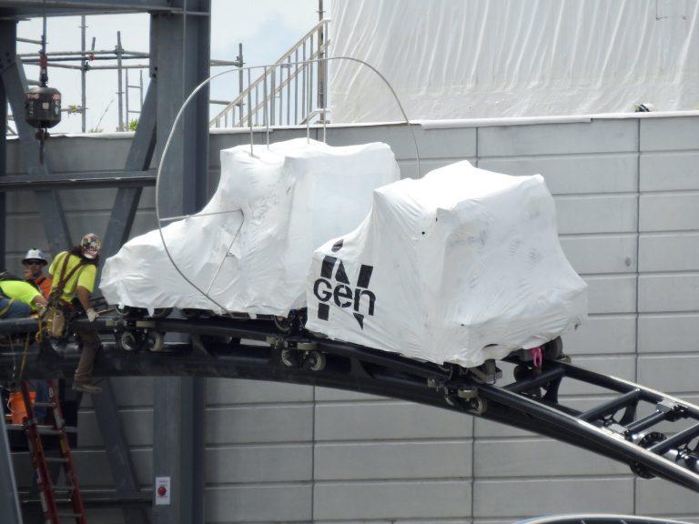 Pull-through vehicle testing has begun on Jurassic Park Coaster at Islands of Adventure